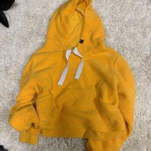 GYMSHARK Yellow BORG Teddy hoodie. XL.